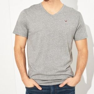 Men's Hollister SS Heather Grey V-Neck Shirt Sz L